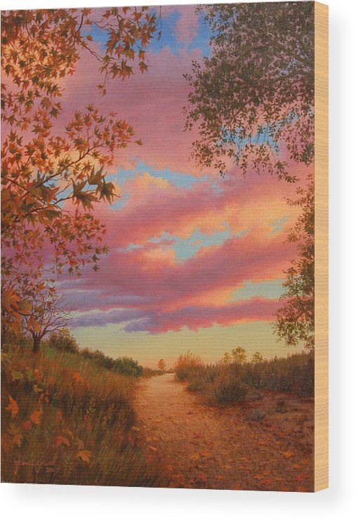 Sunset Wood Print featuring the painting Solitude by Johanna Girard
