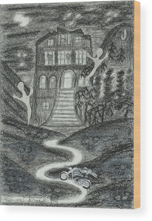 Ghosts Wood Print featuring the drawing Ghosts Night At The Jerome Grand Hotel by Ingrid Szabo