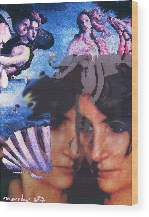Human Composition Wood Print featuring the digital art Renissane Women by Noredin morgan