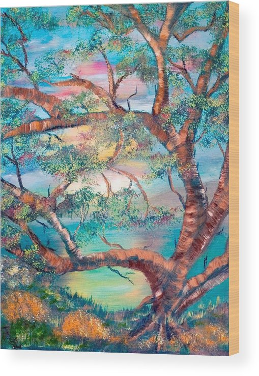 Original Wood Print featuring the painting Misty Oak by Mikki Alhart