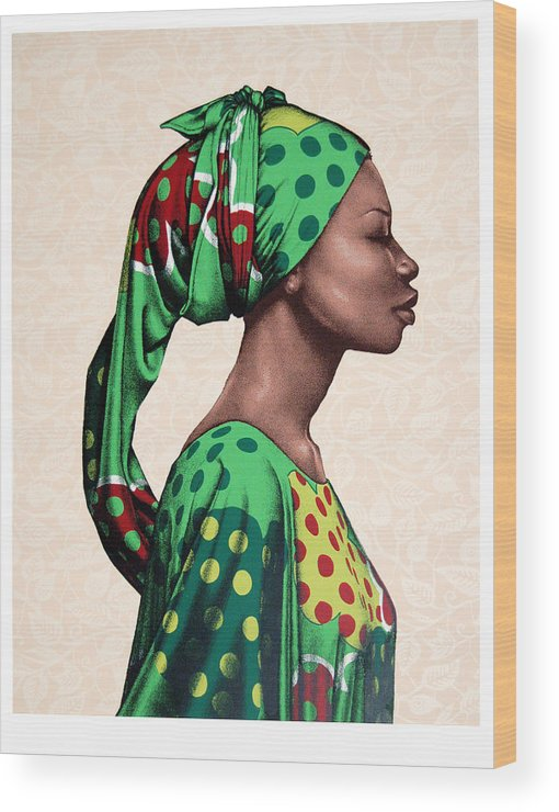 Carla Nickerson Wood Print featuring the print Senegalese Woman by Carla Nickerson