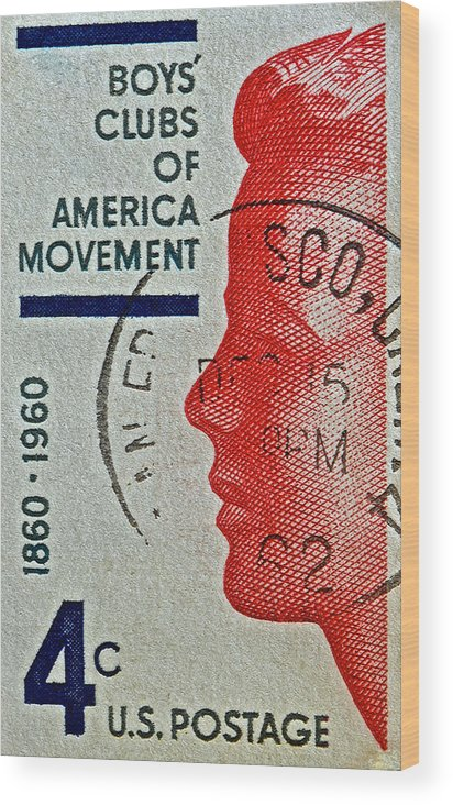 1960 Wood Print featuring the photograph 1960 Boys' Clubs Of America Movement Stamp by Bill Owen