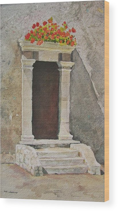 Antique Doorway Wood Print featuring the painting Ancient Doorway by Mary Ellen Mueller Legault