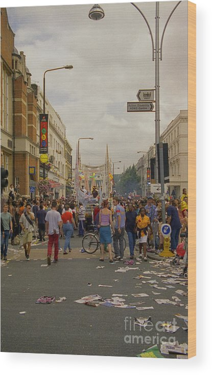 Carnival Wood Print featuring the photograph Crowds At Carnival Notting Hill Celebrations by Richard Morris