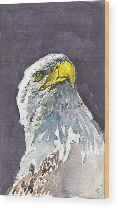 Eagle Wood Print featuring the painting Eagle by Natalka Kolosok