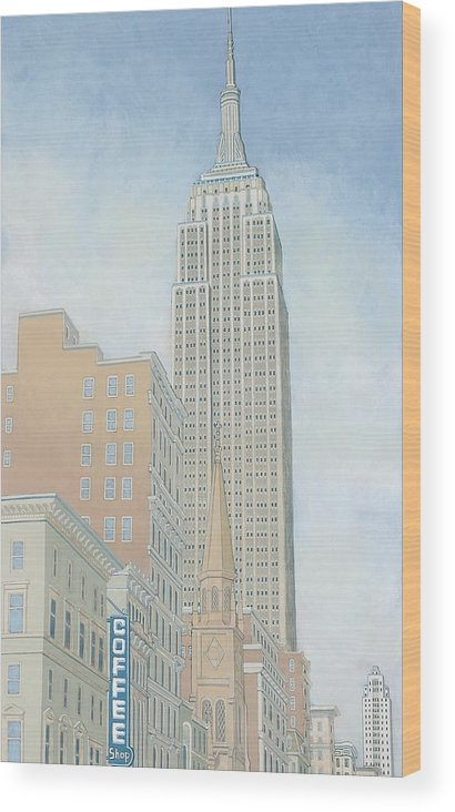 Empire State Wood Print featuring the painting Fifth Avenue Morning by David Hinchen