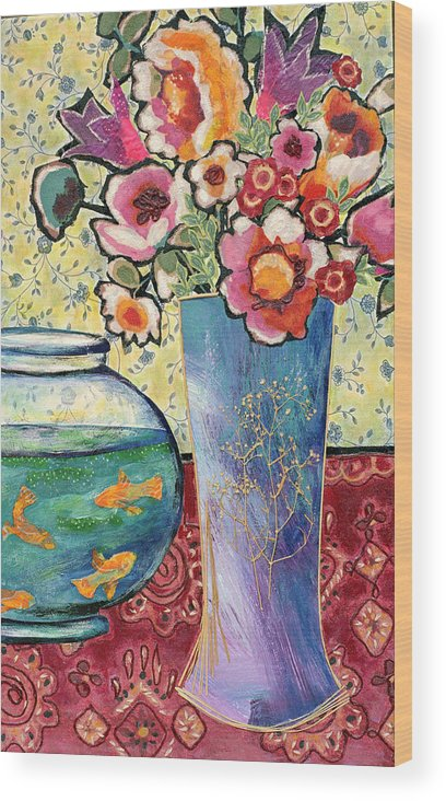 Flowers In A Vase Wood Print featuring the mixed media Fish Bowl And Posies by Diane Fine