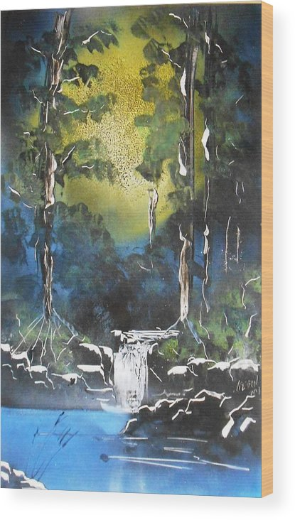 Sun. Forest Wood Print featuring the painting Forest Sun by Aaron Beeston