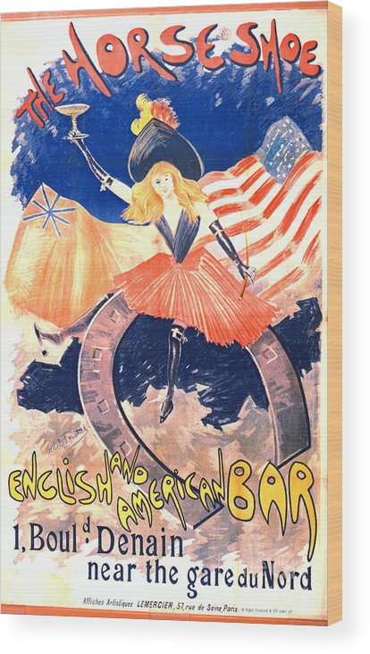French Bar Advertisement 1890 Wood Print featuring the photograph French Bar Ad 1890 by Padre Art