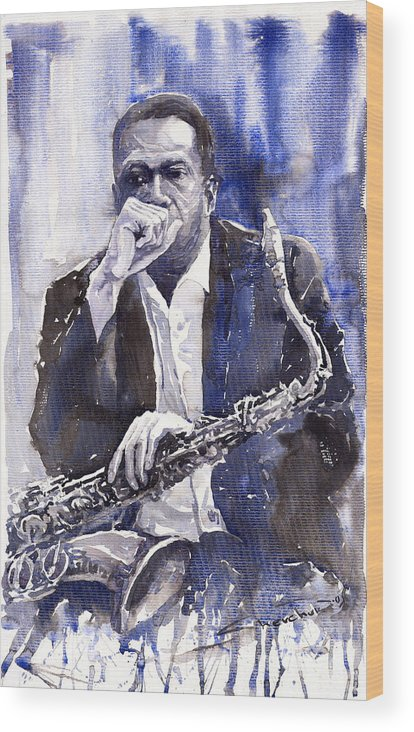 Jazz Wood Print featuring the painting Jazz Saxophonist John Coltrane Blue by Yuriy Shevchuk