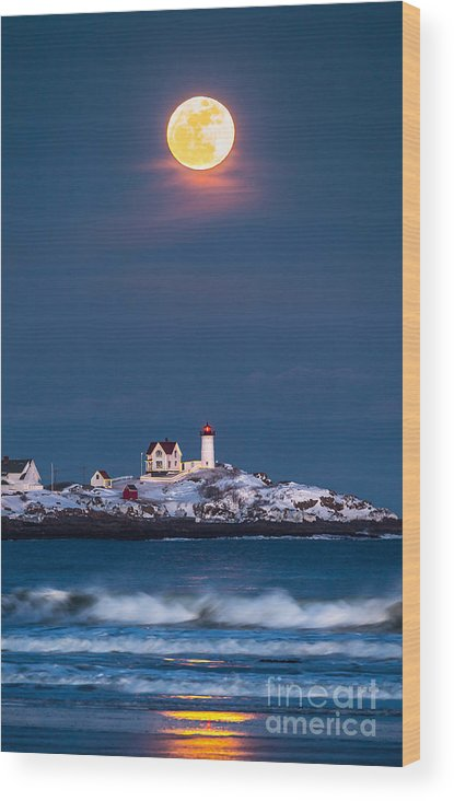 Cape Neddick Wood Print featuring the photograph Moon Over Nubble by Benjamin Williamson