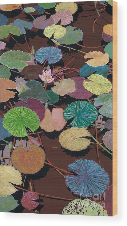 Landscape Wood Print featuring the painting Muddy Waters by Allan P Friedlander