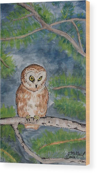 Owl Wood Print featuring the painting Owl by Janna McNeil
