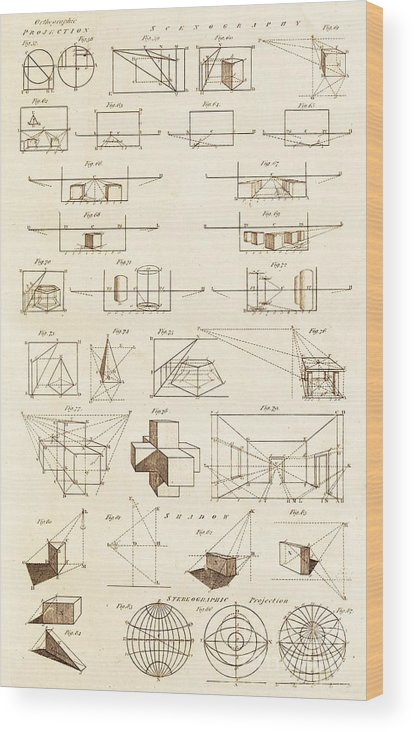 Art Wood Print featuring the photograph Perspective And Scenographic Diagrams. by David Parker