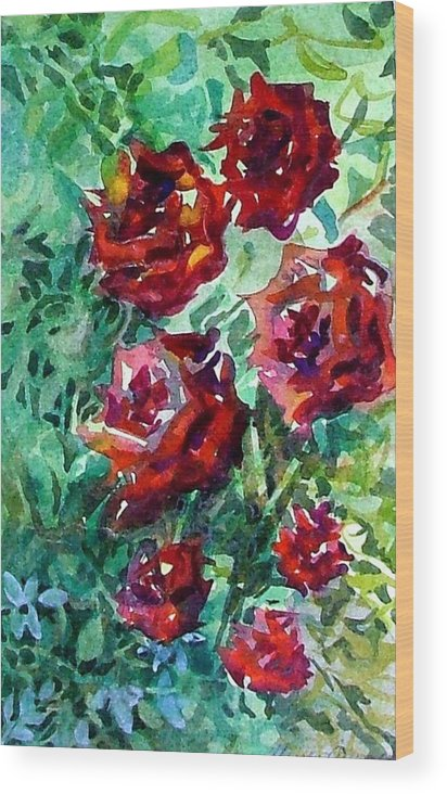 Rose Wood Print featuring the painting Roses by Mindy Newman
