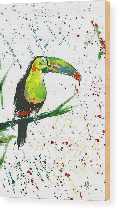 Watercolor Painting Wood Print featuring the painting Toucan by Natalka Kolosok