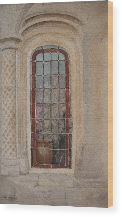 Window Wood Print featuring the painting What Is Behind The Window Pane by Mary Ellen Mueller Legault
