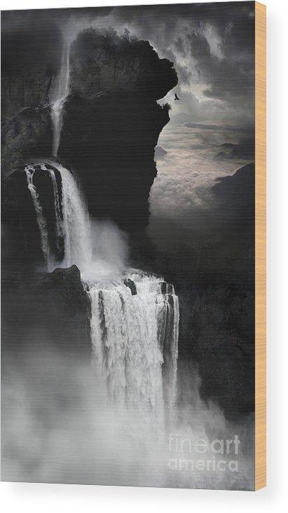 Waterfall Wood Print featuring the digital art When Darkness Falls by Lynn Jackson