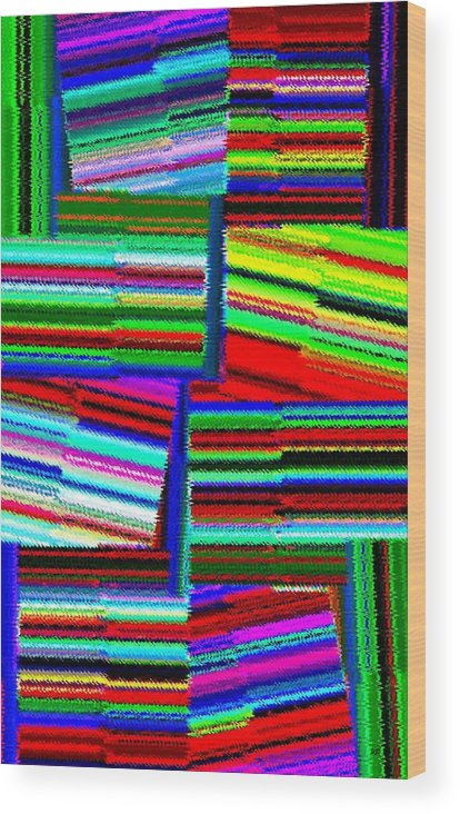 Abstract Fusion Wood Print featuring the digital art Abstract Fusion 77 by Will Borden