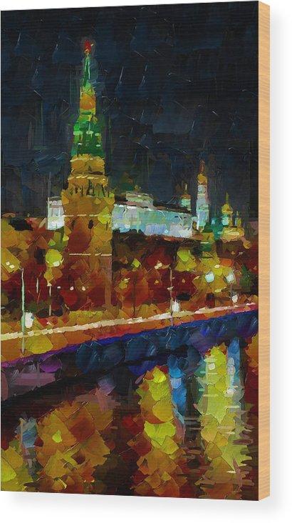 Night Wood Print featuring the digital art Kremlin Lights by Yury Malkov