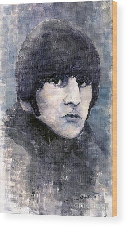 Watercolor Wood Print featuring the painting The Beatles Ringo Starr by Yuriy Shevchuk