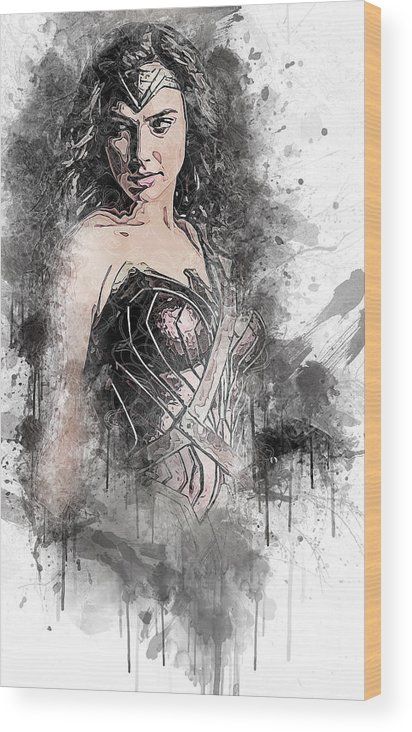 Batman Wood Print featuring the digital art Wonder Woman by Anna J Davis