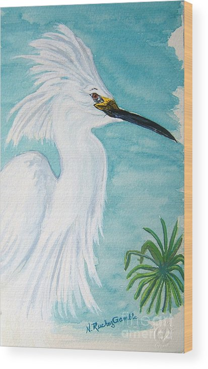 Wading Bird Wood Print featuring the painting Egret by Nancy Rucker