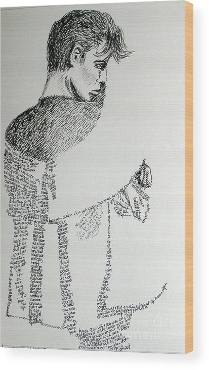 Language Wood Print featuring the drawing Language Of Cloth by Tanni Koens