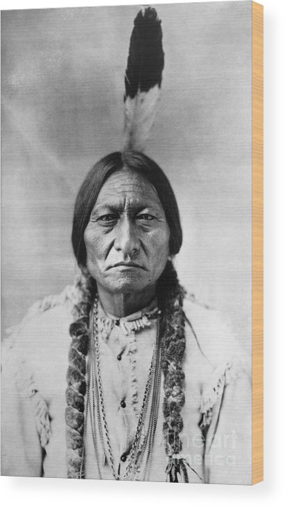 19th Century Wood Print featuring the photograph Sitting Bull 1834-1890. To License For Professional Use Visit Granger.com by Granger