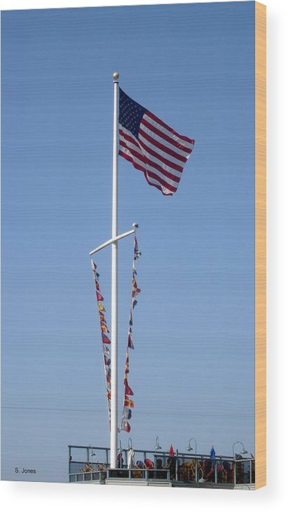 American Flag Wood Print featuring the photograph American Flag by Shelley Jones