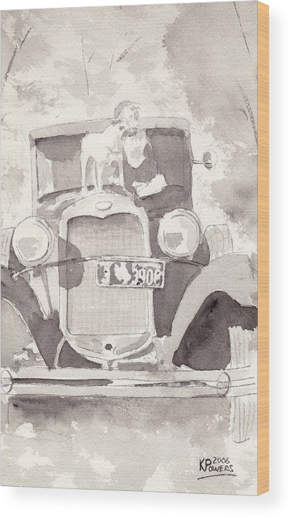 Car Wood Print featuring the painting Boy And His Dog On An Old Car by Ken Powers