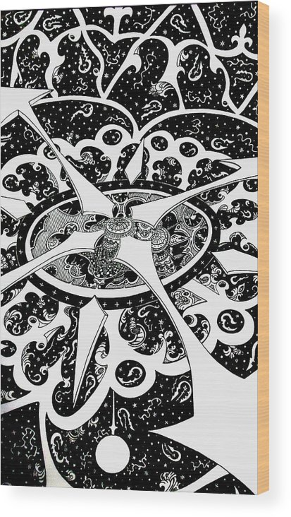 Pen And Ink Wood Print featuring the drawing Chaos Theory by Red Gevhere