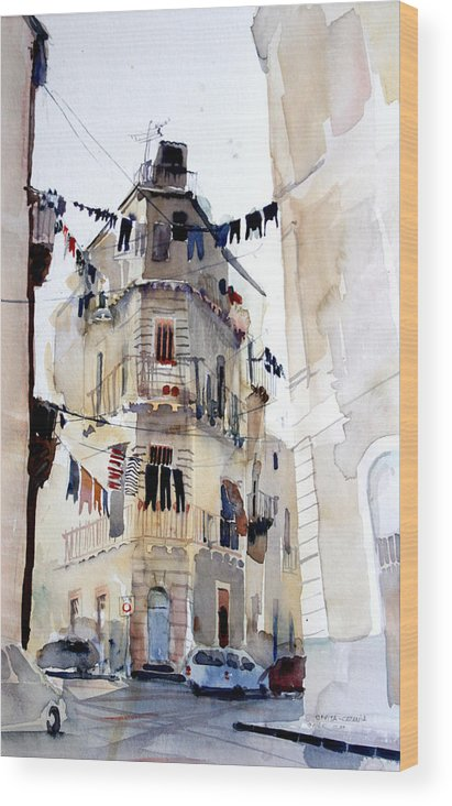 Catania Wood Print featuring the painting Civitas by Omar Jaramillo