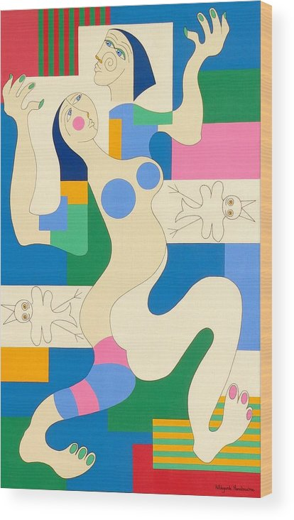 Modern Constructivisme People Birds Original Stylisme Wood Print featuring the painting Dancing by Hildegarde Handsaeme