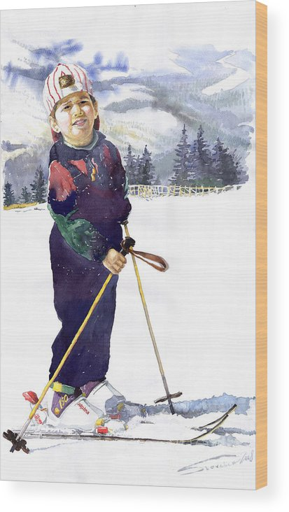 Watercolor Watercolour Figurative Ski Children Portret Realism Wood Print featuring the painting Denis 03 by Yuriy Shevchuk
