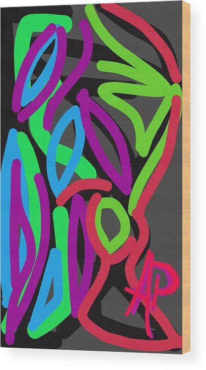 Abstract Wood Print featuring the digital art Distorted Geometry by Alejandro Prassel