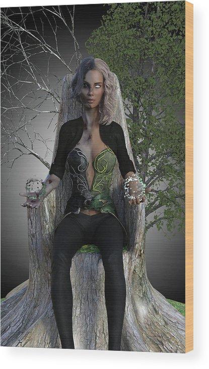 Hel Wood Print featuring the digital art Goddess Hel by Jason Bodary