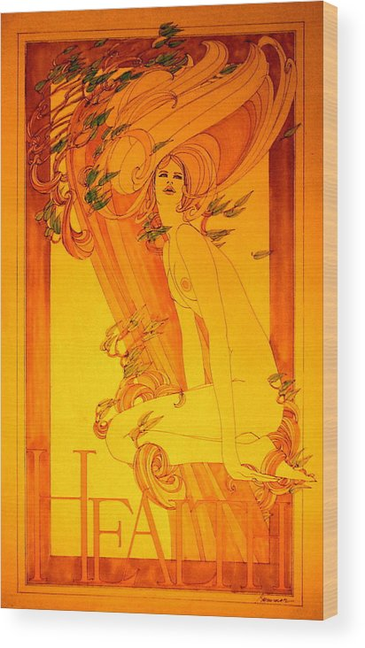 Female Wood Print featuring the painting Goddess Of Health by Gary Kaemmer