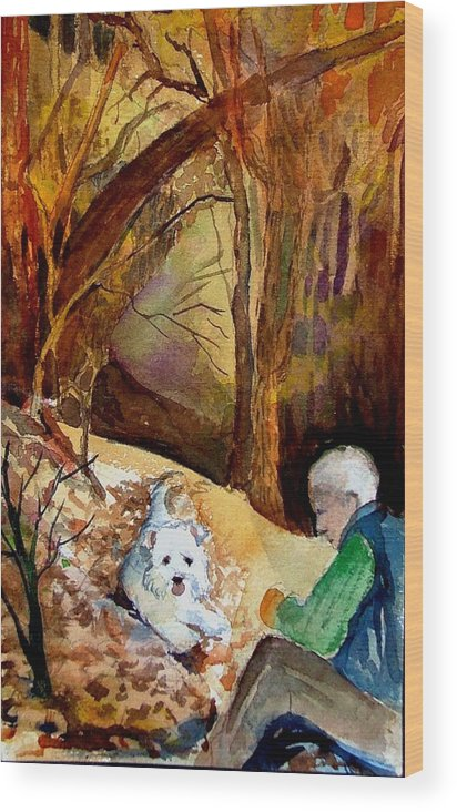 Landscape Wood Print featuring the painting His Golden Years by Mindy Newman