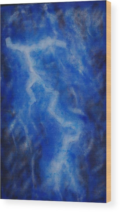 Blue Glass Fused Lightning Strike Frit Powder Sky Night \painting With Light\ Fritography Wood Print featuring the glass art It Seems The Wrath Of God by Louis Copper