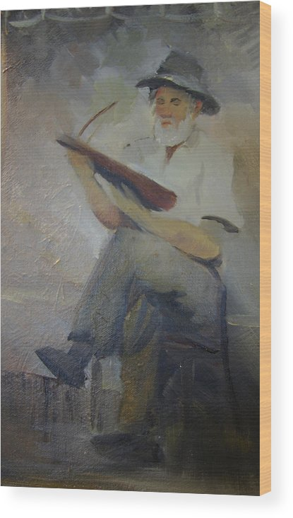 Dulcimer Wood Print featuring the painting Jack Smitherman Playing The Bowed Psaltery by Jill Holt