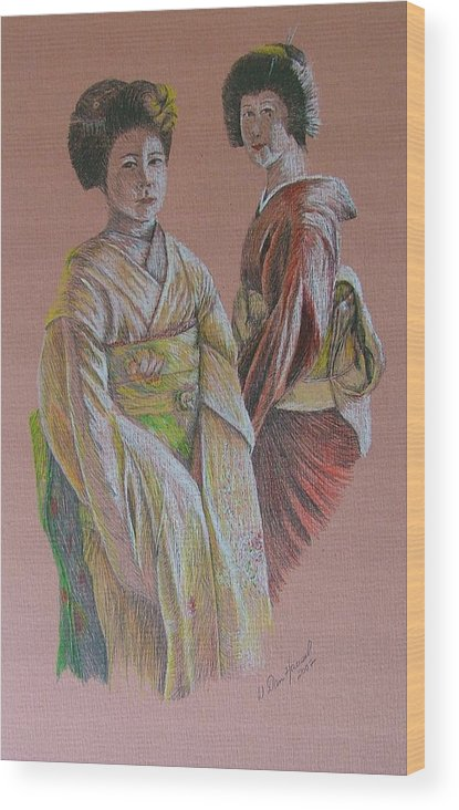 Japan Wood Print featuring the drawing Ladies Of The Rising Sun by Dan Hausel