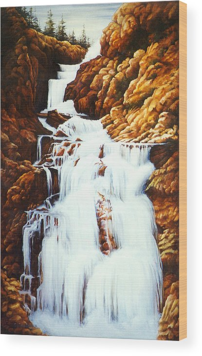Waterfall Wood Print featuring the painting Little Firehole Falls by Teri Rosario