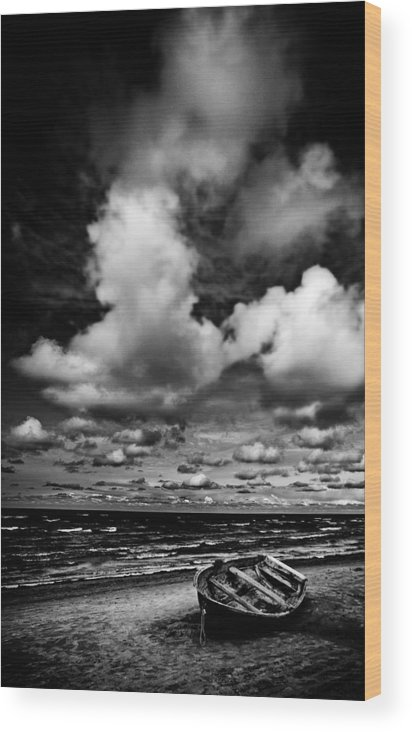 Background Wood Print featuring the photograph Lonely Boat by Dmitrii