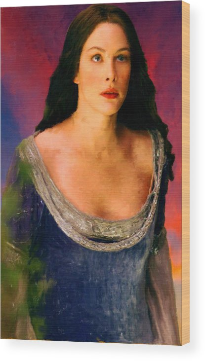 Lord Of The Rings Wood Print featuring the painting Lord Of The Rings Arwen by Frank Paul