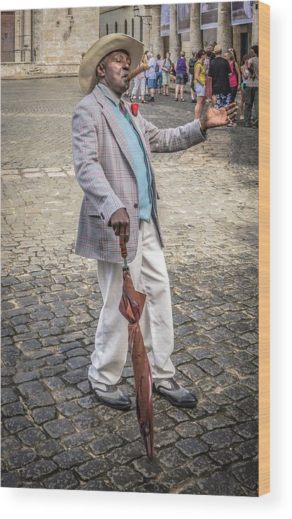 Havana Wood Print featuring the photograph Man Smoking A Cigar by Bill Howard