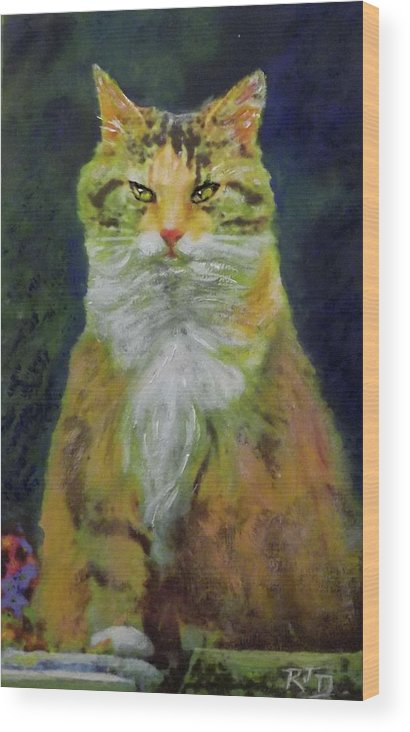 Cat Wood Print featuring the painting Mysterious Cat by Richard James Digance