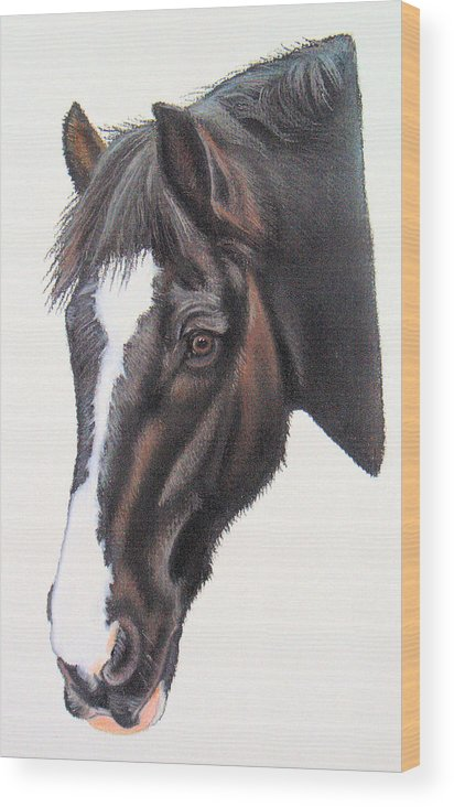 Horse Wood Print featuring the pastel Pickles by Lucy Deane