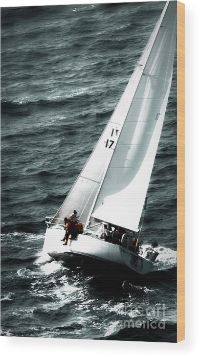 Sailing Wood Print featuring the photograph Regatta Sailboat Races by Sandy Buckley
