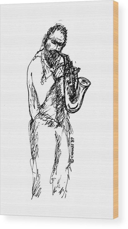Sax Wood Print featuring the drawing Saxman by Sam Chinkes
